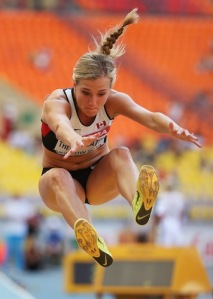 Competing in the long jump as Thiesen-Eaton works her way through the heptathlon events (Photo by: Christian Petersen/Getty Images)