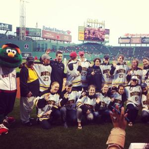 Murphy flashing the peace sign as the Blades are honored by the Red Sox at historic Fenway Park. (Image obtained from Facebook)